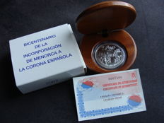 "Spain - 10 Euro 2002 ""200th memorial day Menorca with Spain"" - silver"