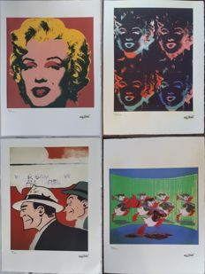 Marilyn Monroe, Donald Duck and Dick Tracy lithographs by Andy Warhol (after) - Handnumbered and printed signature