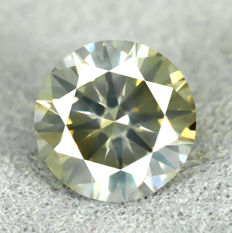 Diamant - 0.52 ct, VS2 - Natural fancy yellowish green - VG/EXC/EXC