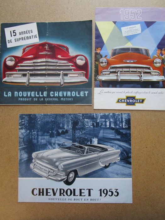 CHEVROLET - Lot of 3 original brochures Fleetline and Fleetmaster 1947 - Styleline 1952 - 1953 Sedan