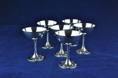 Set of 6 Sterling Silver 950 20th Century Cups/Goblets