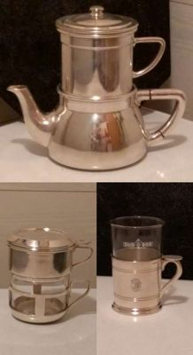 Art-Deco - Silver plated coffee pot with filter - 1 Tea glass and 1 coffee filter, Wiskemann, Bruxelles ca. 1930