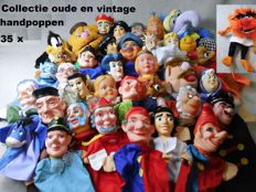 Beautiful collection of very old and vintage hand puppets/dolls/puppet show, 35 pieces