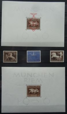 German Empire 1936/1940 - Blue and Brown band - Michel 698/99, 747; Block 4, 10