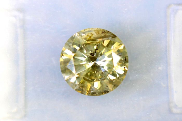 Fancy INTENSE Greenish Yellow -  1.04 ct - Excellent Cut - * NO RESERVE PRICE *