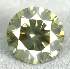 Diamond - 0.86 ct, SI1 - natural fancy yellowish green - EXC/EXC/EXC