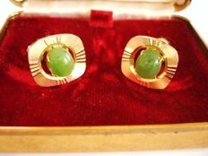 Valentine Day Gift: 14K GP set of Nephrite Jade cufflinks in original box from Chinese export to USA, vintage 1960's