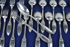 12 Decorative Spoons & 12 Forks made of 800 Silver by Delheid Freres after 1862