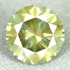 Diamond - 3.01 ct, SI1 - natural fancy intense yellowish green - VG/EXC/EXC