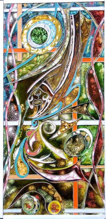 Le visage enfoui - contemporary art in stained glass