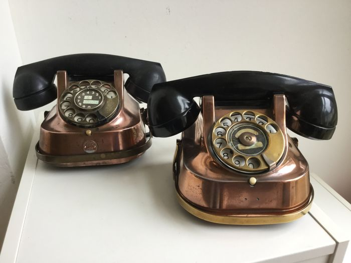 Two Copper/Bakelite Telephone, Belgium, 1956