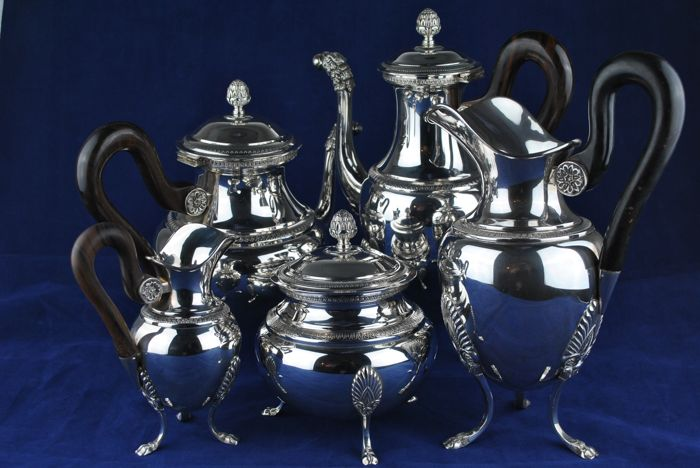 Complete Set of Solid Silver 800/1000, 20th Century Italian Reproduction of French Empire Style Tea & Coffee pots - 5pcs