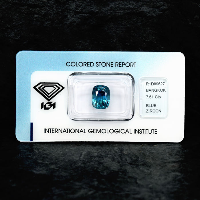 Intense blue zircon - 7.61 ct