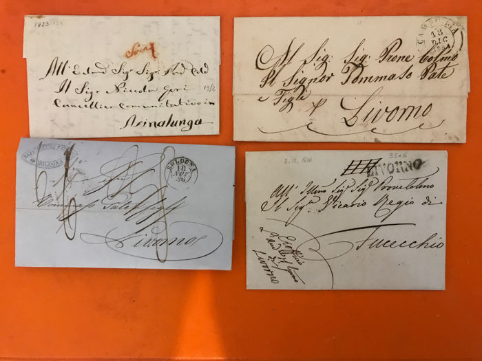 Historic States of Italy - Lot of pre-philatelic and unstamped letters from 1814 to 1863, Tuscany, Sardinia, Sicily and Naples