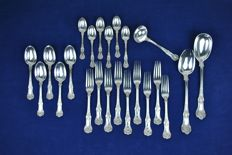 British Queen's Pattern/Fiddle Shell Sterling Silver 925 Cutlery, 23 pieces, Chawner & Co, George William Adams, London, 1871