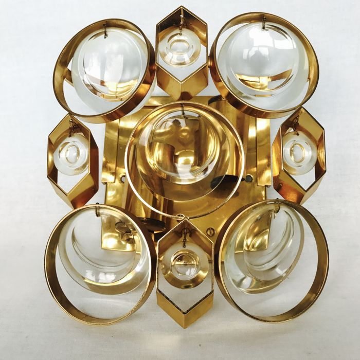 attributed to Palwa - single wall sconce, Gilded Brass and Crystal Glass