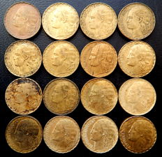 Spain - 2nd Republic - Lot of 16 coins of 1 peseta year 1937