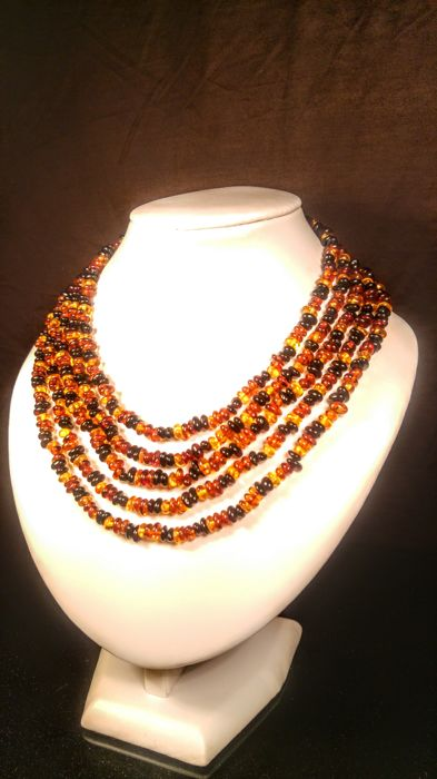 Long 100% Genuine Baltic amber necklace, length 220 cm, 46 grams