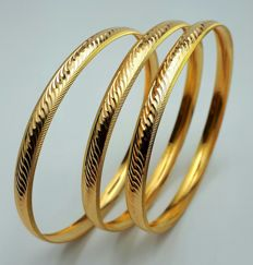 12g, 3 Bangle Set, 22 Ct Gold  *** LOW RESERVE PRICE ***