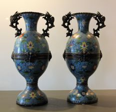 China - large pair of two vases in cloisonné enamel with handles, European, first half of 20th century
