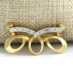14kt Yellow gold brooch with 0.20 ct Diamonds