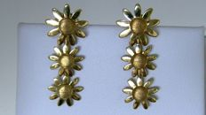 Aprile - Earrings - 18 kt gold - daisies - weight 4.26 g - length 2.95 cm