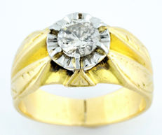 Cocktail ring in 18 kt gold With brilliant-cut natural diamond of 0.62 ct (N/P1) IGE certificate
