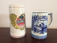 2 Heineken beer mugs - handmade, Made in Holland