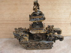 Pagoda temple in tiger eye - China - end of 20th century