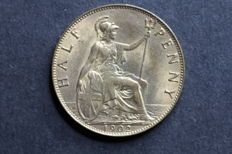 United Kingdom - ½ Penny 1902, 1912 and 1932 + Florin 1936 Edward VII and George V (total 4 pieces)