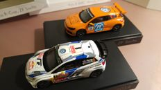 Spark - Schaal 1/43 - VW Polo R WRC #9, Rally Monte Carlo - drivers Mikkelsen/Markkula 2014 & VW Scirocco #11, Scirocco R-Cup ZF Sachs 2012