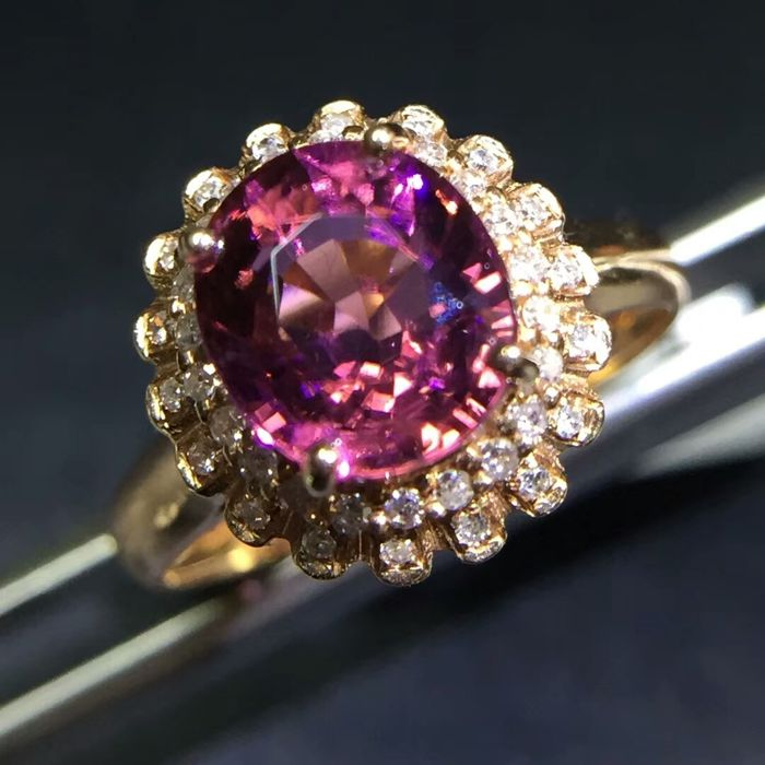 1.9 Carat Tourmaline Ring In 18K Solid Gold with Diamond - Ring Size: 6.75 - Free resizing