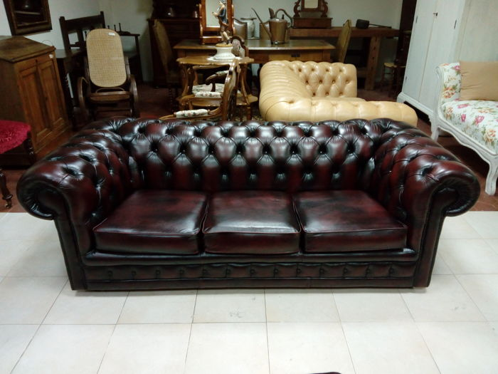 English Chesterfield Three Seater Sofa Original Vintage 20th
