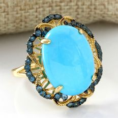 14 kt Yellow Gold 13.30 ct Turquoise, 0.50 ct London Blue Topaz Ring, Size: 9