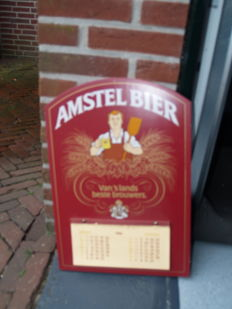 Authentic Amstel beer calendar from circa 1980, Cafe format, made in 10 mm thick wood