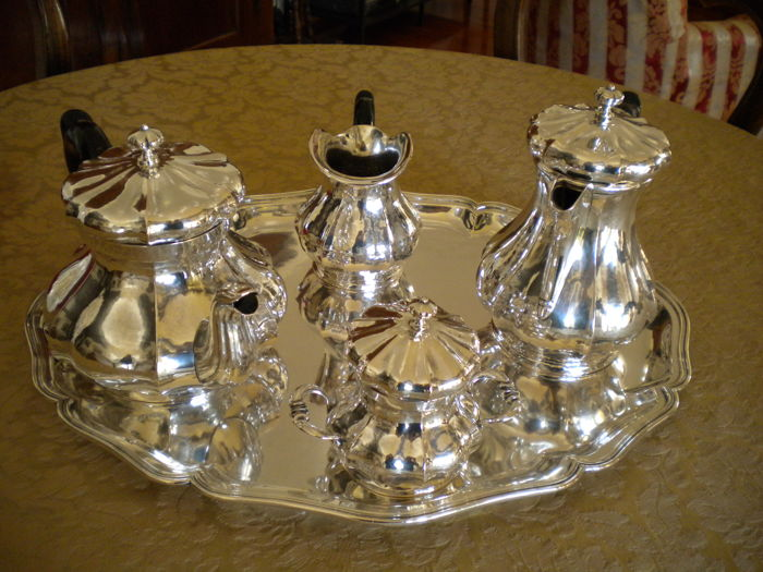 Tea/coffee Service complete with Tray, in 1700s Venetian revival style Venice c. 1960
