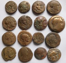Greek Antiquity - Lot of 16 Greek, Macedonian and Oriental AE coins (16x)