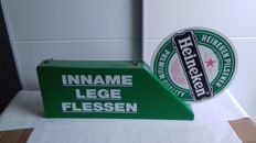 "Heineken advertising board ""inname lege flessen"" double-sided.  75 x 48 x 7 cm, 1990s"