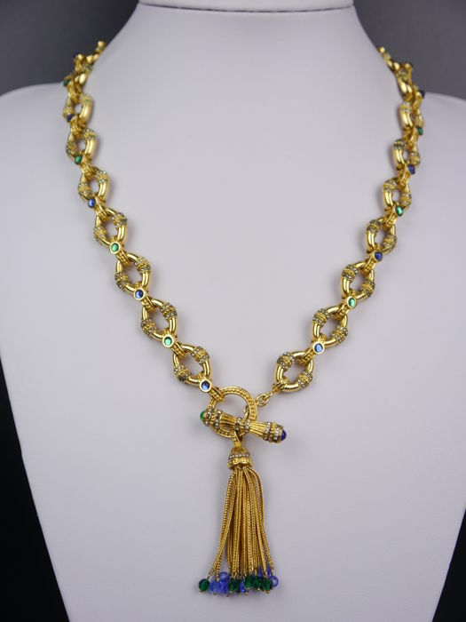 "Franklin Mint, collier + bracelet "" The treasure of the sultan"", 22 karat gold plated, design: Shakira Cain, USA. New York"