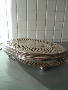 Silver plated metal hot-plate, hallmarked