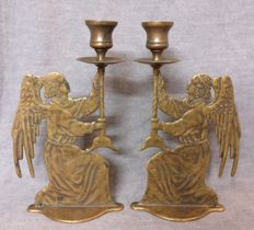 Pair of bronze candlesticks, lost wax casting - Venetian angels - Italy, Venice - mid-20th century