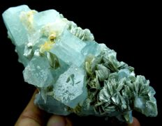 Terminated Natural Aquamarine Crystal Cluster with Mica - 107 x 52 x 48 mm - 285 gr