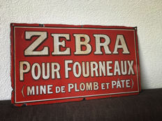 Enamel advertising sign - 'Zebra pour Fourneaux'