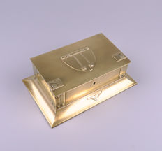 WMF - Art Nouveau brass box, jewellery or cigar box