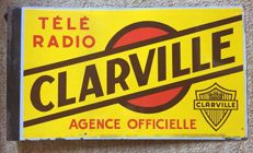 Enamelled double-sided plate - Télé Radio Clarville - 50s