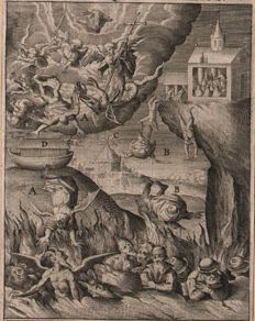 Theodoor Galle (1571-1633) - Heretics burned in hell and the ark of Noah on the hill - 1603