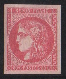 France 1870 - Bordeaux issue Ceres 80c Pink Signed A. Brun and Roumet - Yvert no. 49