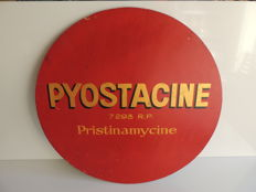 Pyostacine - pharmaceutical product - wooden plate - diameter 60 cm - c. 1950