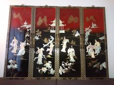 A set of 4 large lacquer panels with mother of pearl inlay - China - second half 20th century
