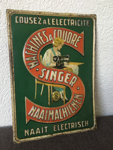 Tin advertising sign Singer 1934